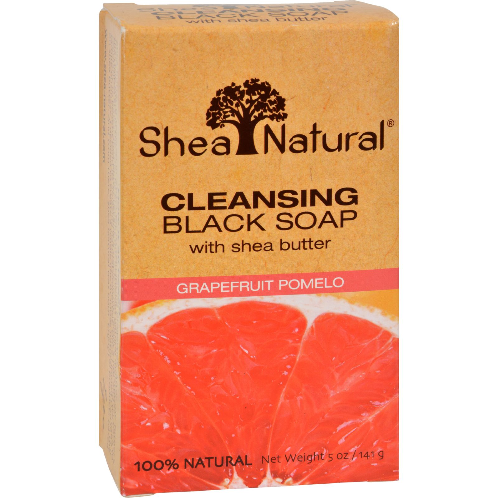 Shea Radiance Cleansing Black Bar Soap, Grapefruit Pomelo 5 Oz by Shea Natural (Pack of 3)