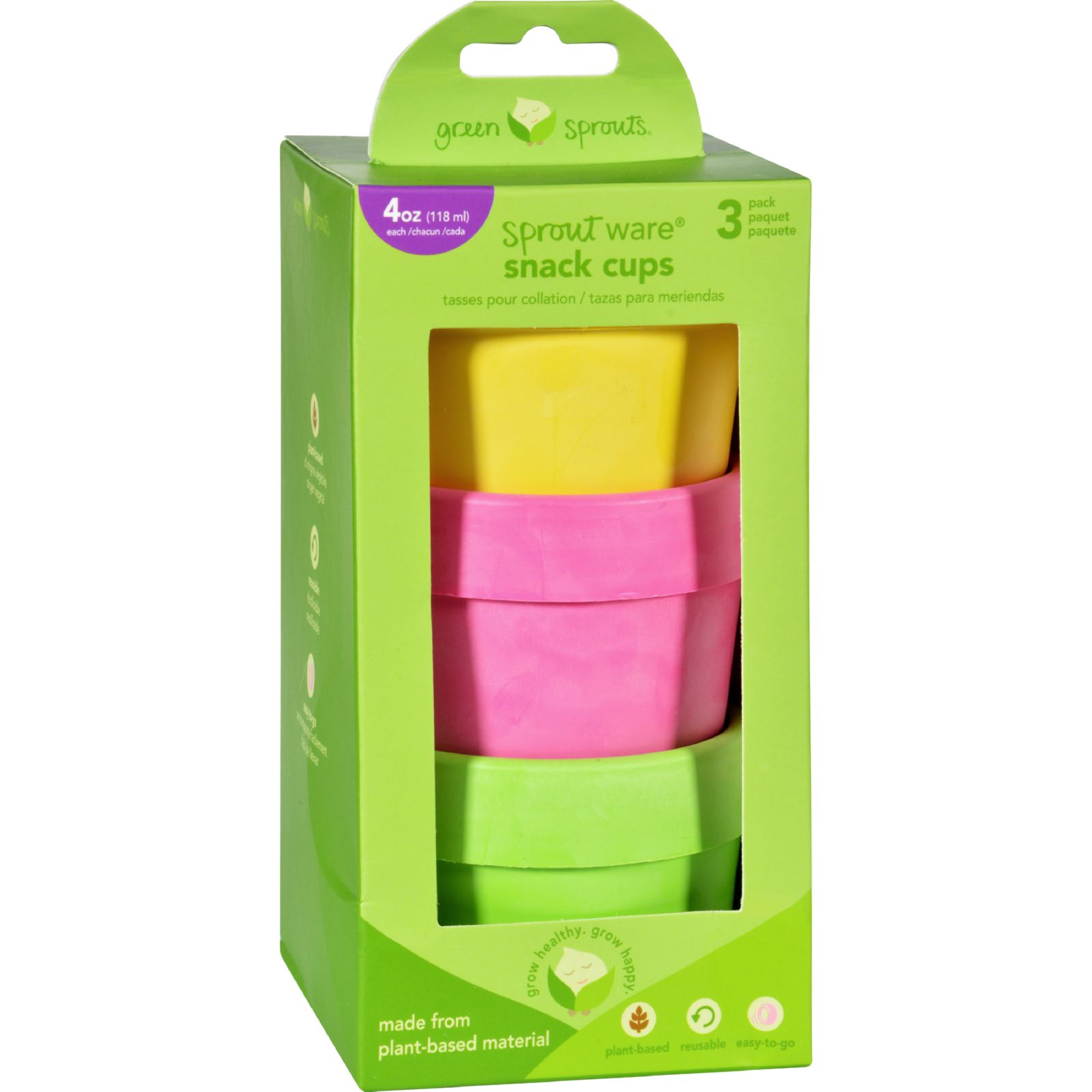 Green Sprouts Sprout Ware Snack Cup - Pink Three 4 oz cups