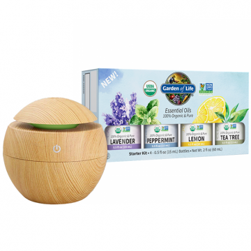 Organic Essential Oil Starter Kit (Lavender, Peppermint, Lemon, Tea Tree) FREE DIFFUSER WITH PURCHASE