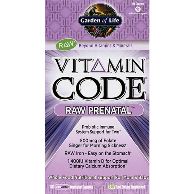 Garden of Life Vitamin Code RAW Prenatal 180 Veggie Caps The