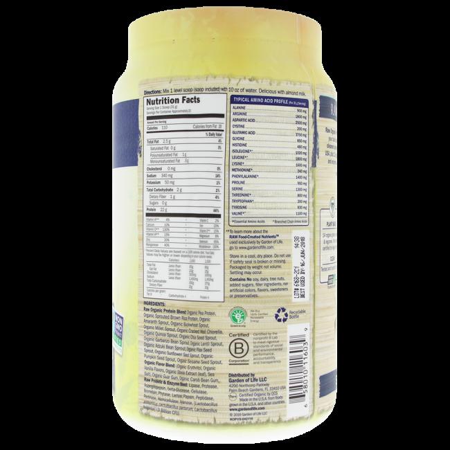 Garden Of Life Raw Organic Protein Vanilla 22 Oz Powder